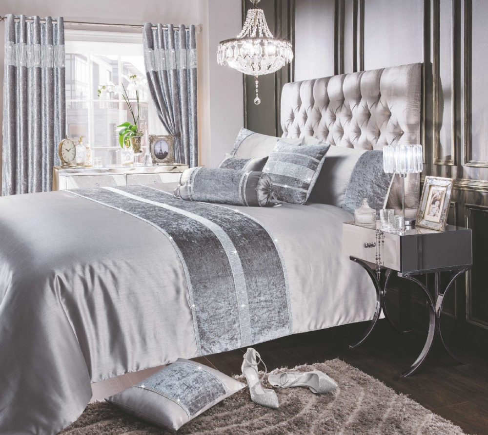 SILVER GREY SHIMMER DIAMANTE SPARKLE CRUSHED VELVET DUVET COVER LUXURY MODERN BEDDING RANGE